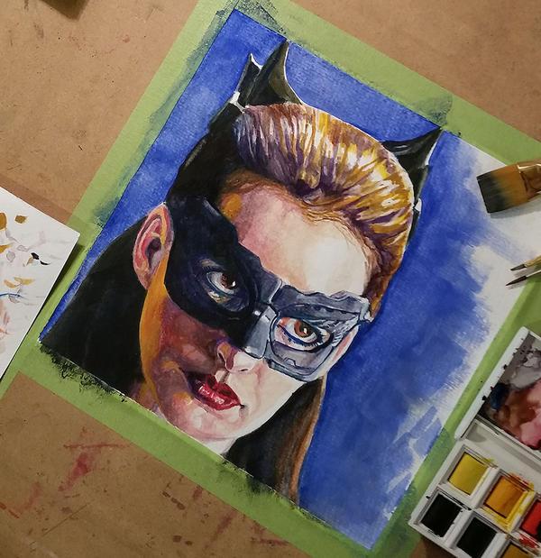 Catwoman Watercolor Deviantart by NVPStudios