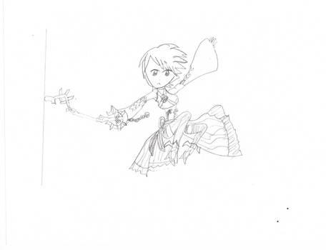 Aqua free hand drawing