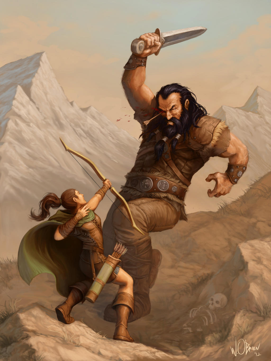 Giant and Archer by WillOBrien