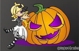 Chibi Bow with a Jack-o lantern by SugarPhonics