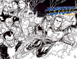 Captain Marvel Shazam cover bwlowres by ElvinHernandez