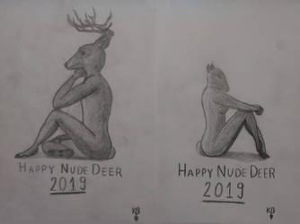 Happy Nude Deer 2019 (both) by Gash-ren