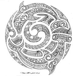 In Maori moko style
