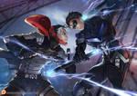 Red Hood vs. Night Wing by. Calmseer