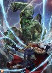 Hulk vs. Thor by. IAMZOOF