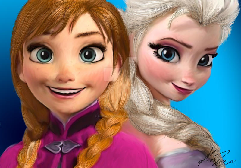 anna and elsa digital painting by firesphere306 on deviantart