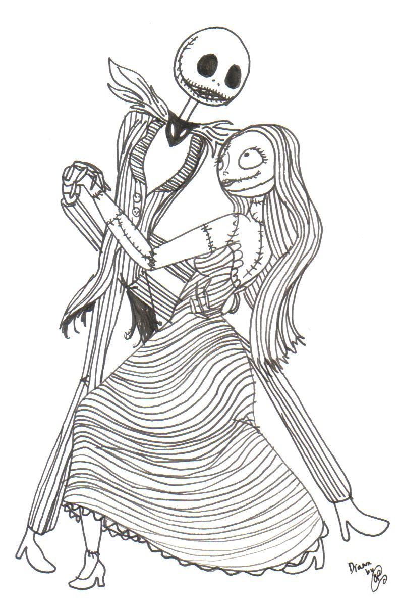 Jack and sally tango by sleepyragdoll on deviantart for Jack and sally coloring pages