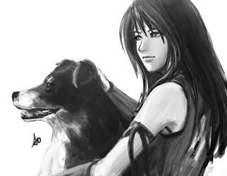 Rinoa and Angelo by borjen-art