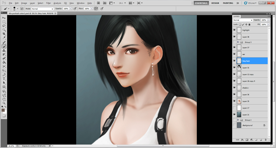 Tifa Lockhart Portrait WIP2 by borjen-art