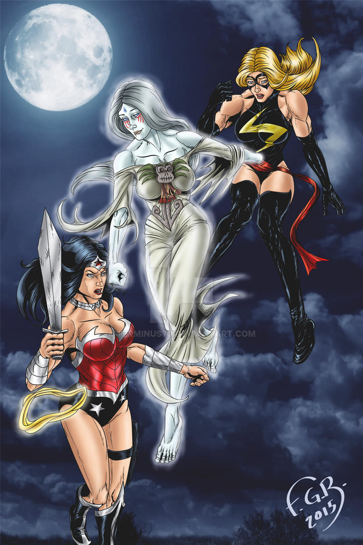 cihuacoatl vs wonder woman and Ms. marvel by terminus70