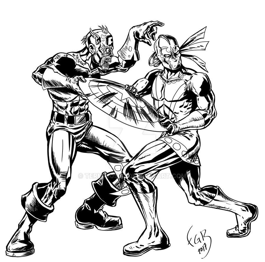 xiuhcoatl vs marvel zombies detail by terminus70