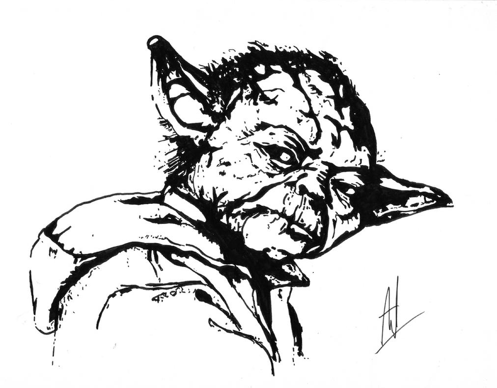 Yoda Face Black And White