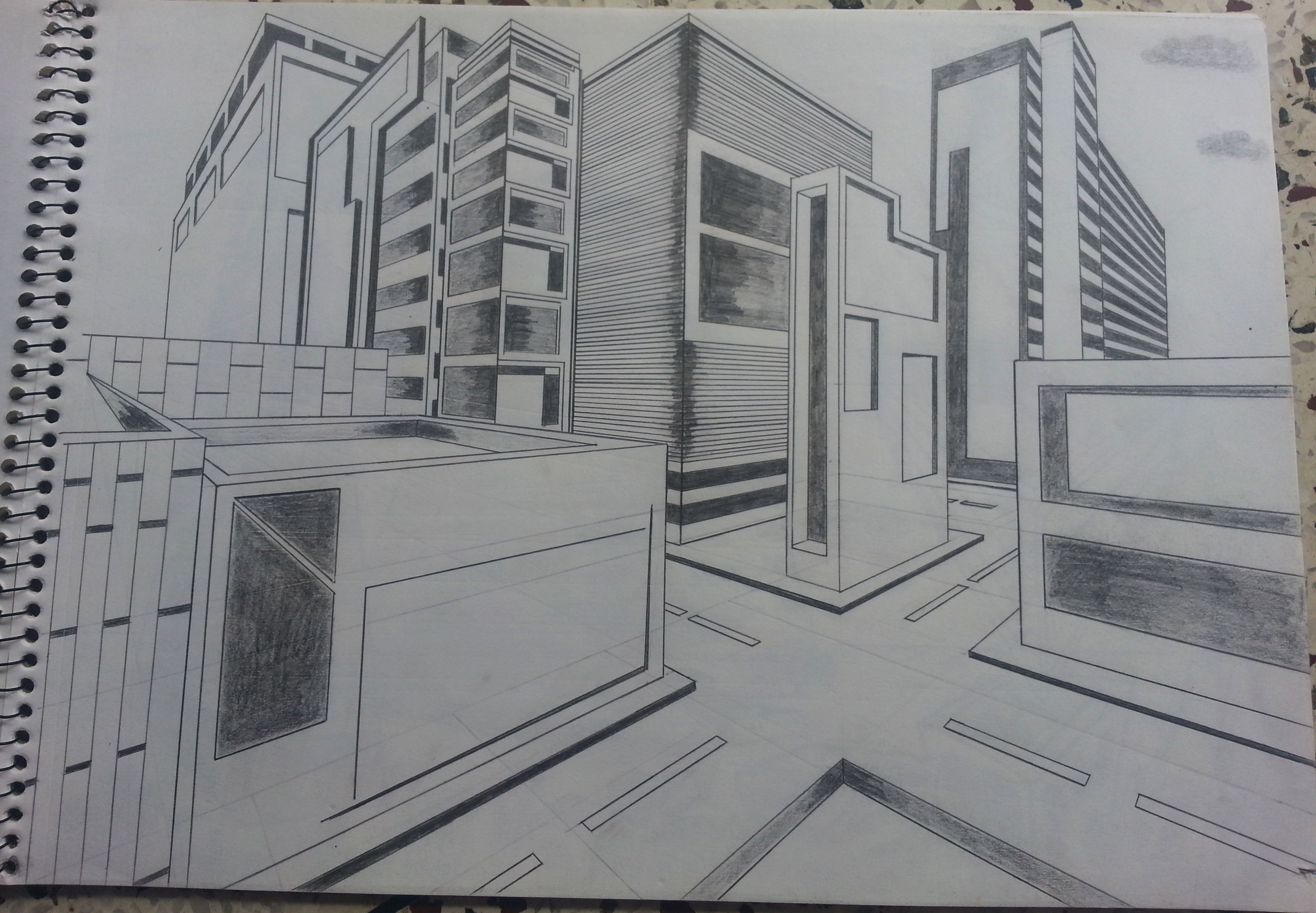 2 point perspective buildings by adityajoshi on deviantart for Modern house 2 point perspective