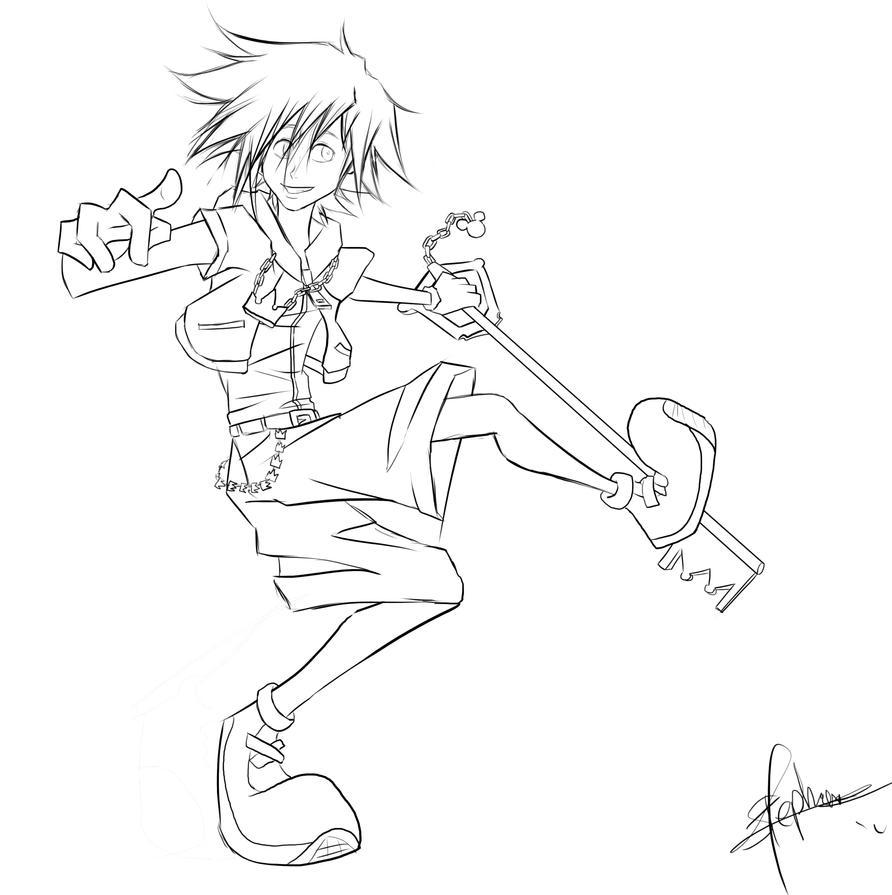Sora Kingdom Hearts Lineart : Kingdom hearts sora line art by stephaniecitie on