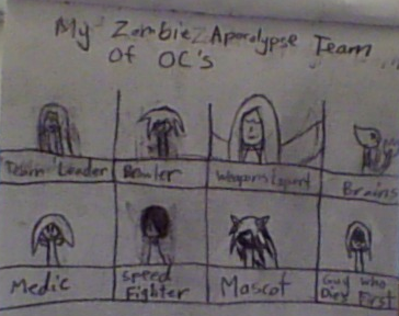 My Zombie Apocolypse Team-Of OC's! by PychopathicFangirl