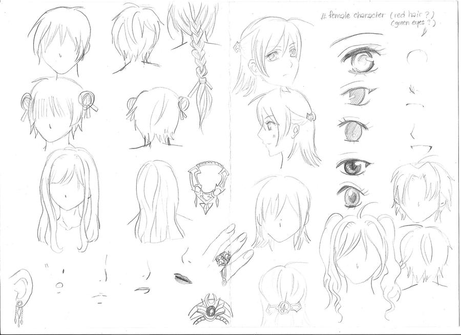 various sketches of female manga characters by yoolin
