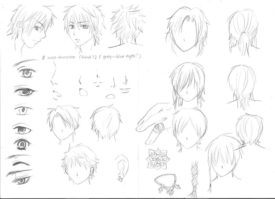 Character Anime Design Tutorial : Various sketches of male manga characters by yoolin on