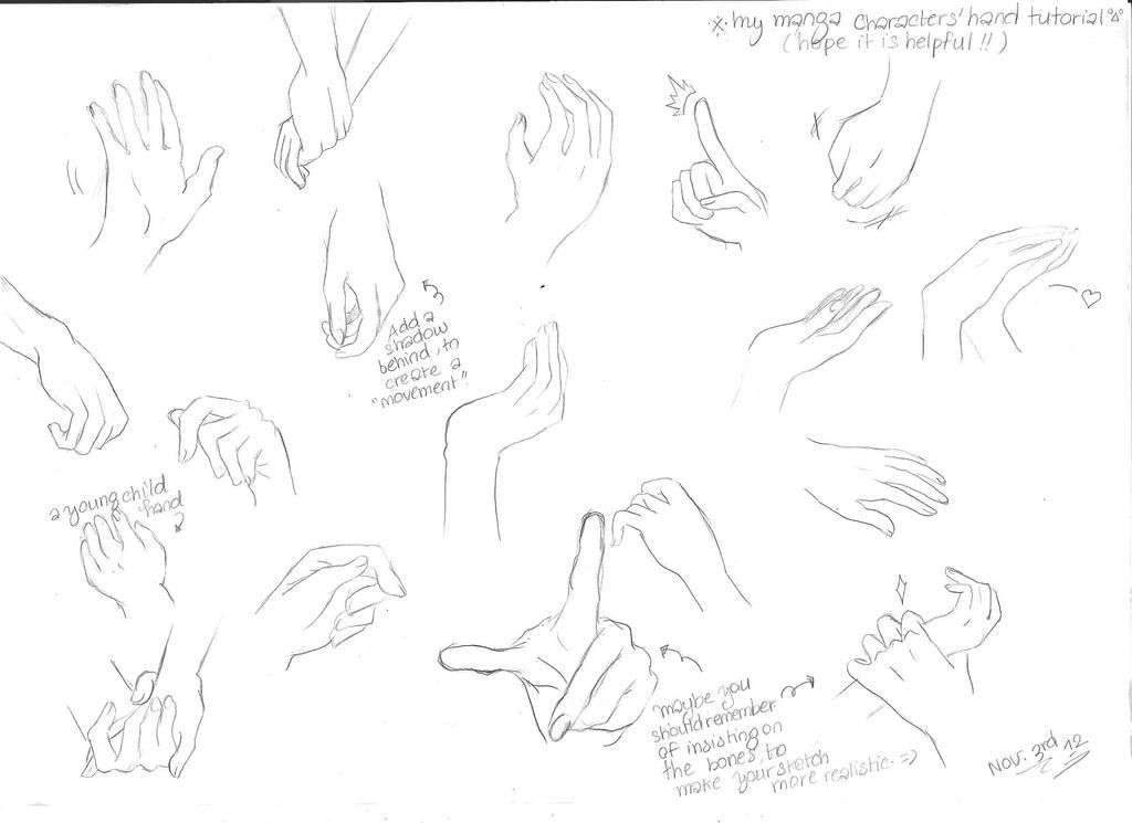 Tutorial manga character hands by yoolin