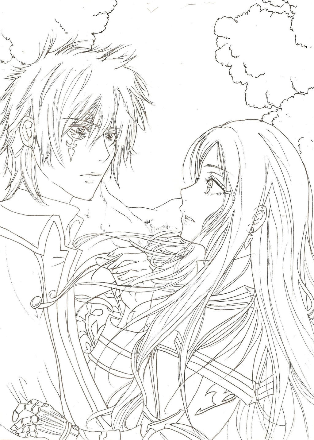 Erza and Jellal from Fairy Tail (lineart) by yoolin on ...
