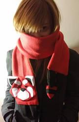 Red Panda Scarf by yoyoninjagirl