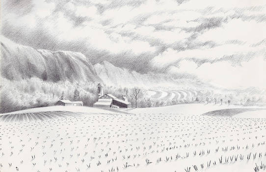 Countryside Fog Daily Doodle