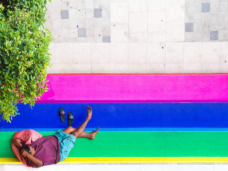 Laying on the rainbow