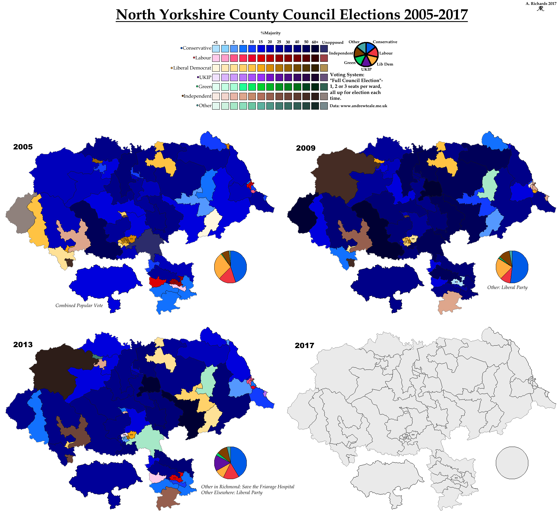 North Yorkshire CC Elections 2005-2017 by AJRElectionMaps ...