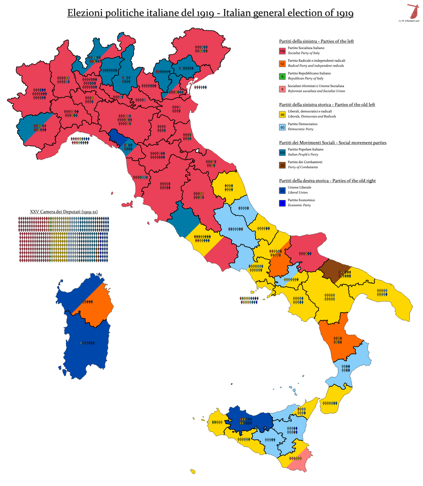 Italian General Election, 1919 by AJRElectionMaps on ...
