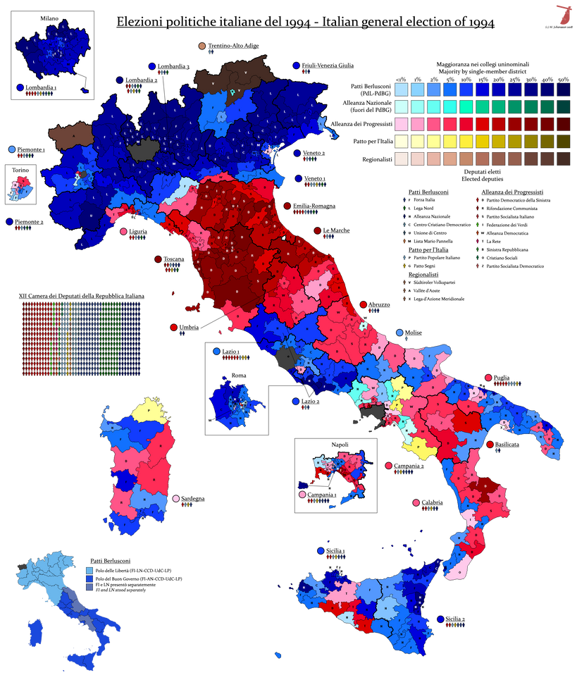 Italian General Election, 1994 by AJRElectionMaps on ...