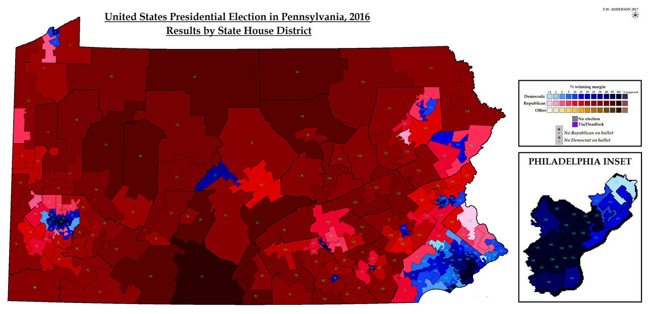 Us Presidential Election 2016 In Pa By State House By - Us-presidential-election-map-2016