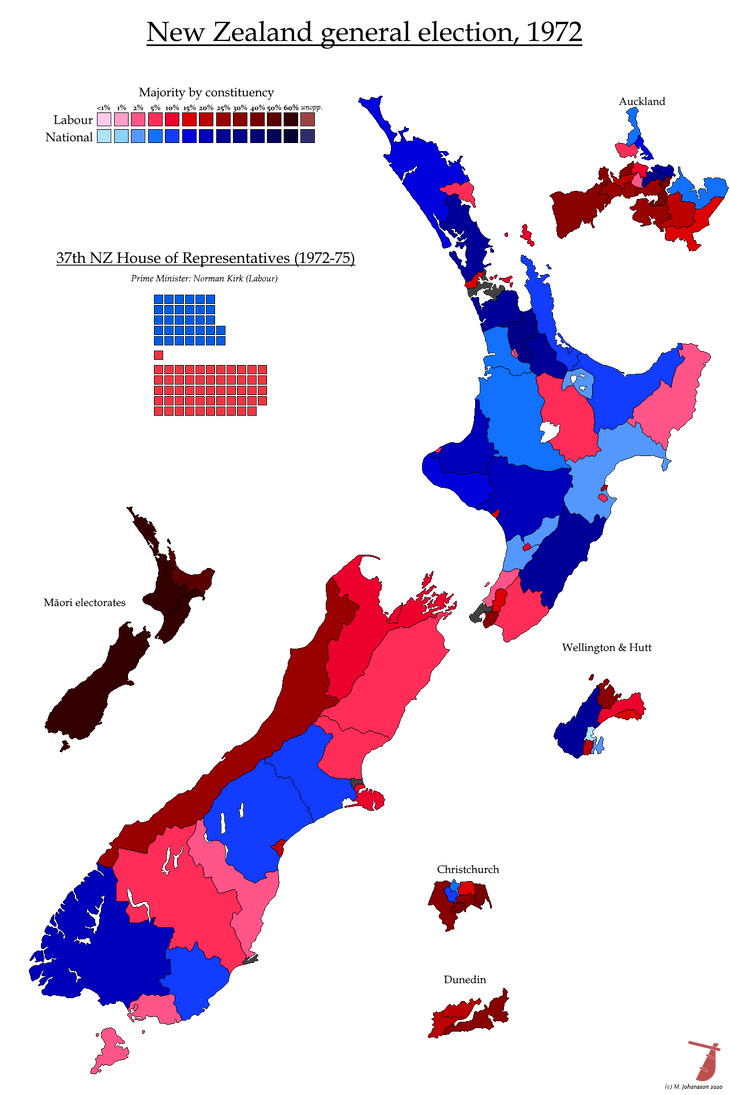 New Zealand General Election 1972 By Ajrelectionmaps On Deviantart