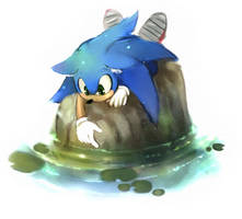 a Sonic doodle by AkiruNyang