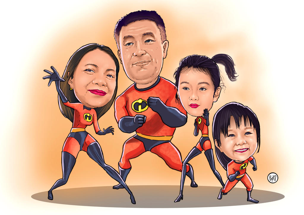 INcredibles Family caricature by ObbArt