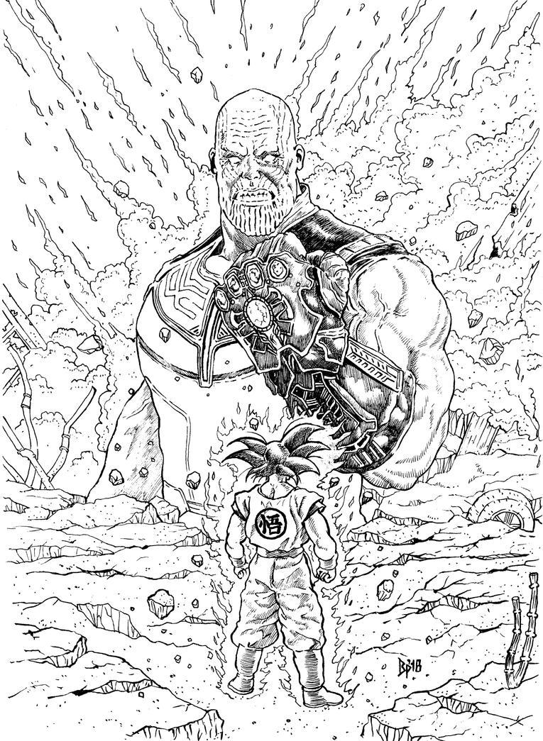 Thanos VS Goku by ObbArt
