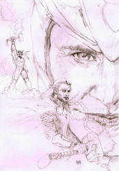 Thor and Loki(pencil) by ObbArt