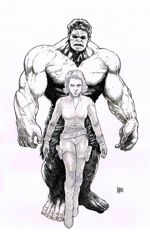 Black widow and hulk by ObbArt