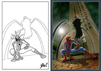 Spiderman vs Doc Octopus by shezo-rk