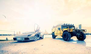 Hummer H1 and Lambo