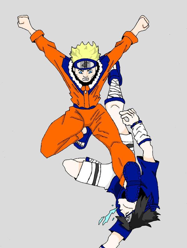 Naruto vs Saske colored by Marvelartist