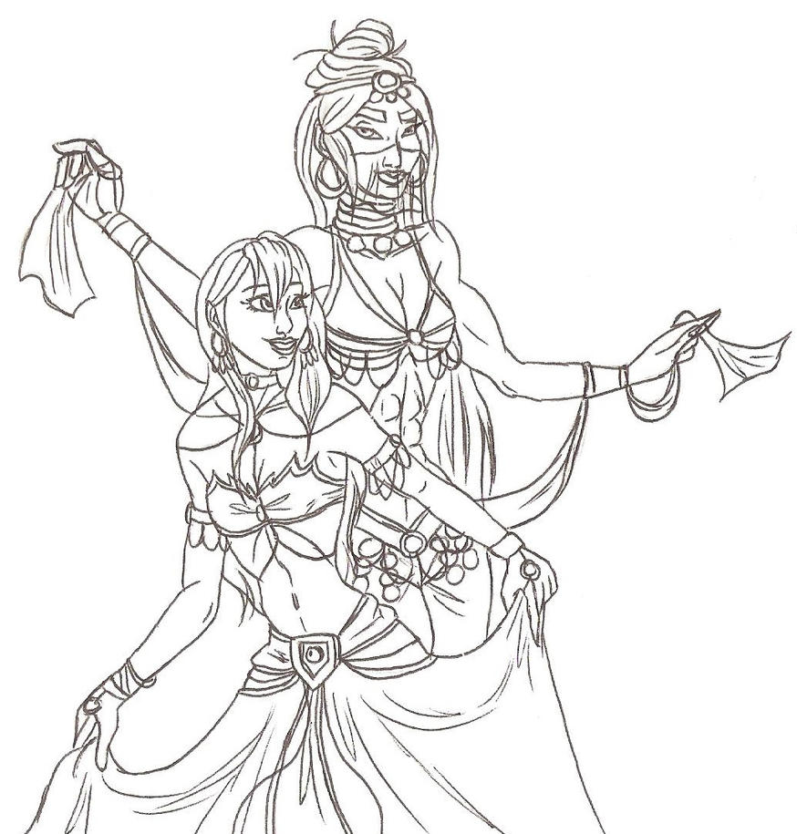 Line Drawing Dancer : Hanard and lunara belly dancing line art by sixgunshauna