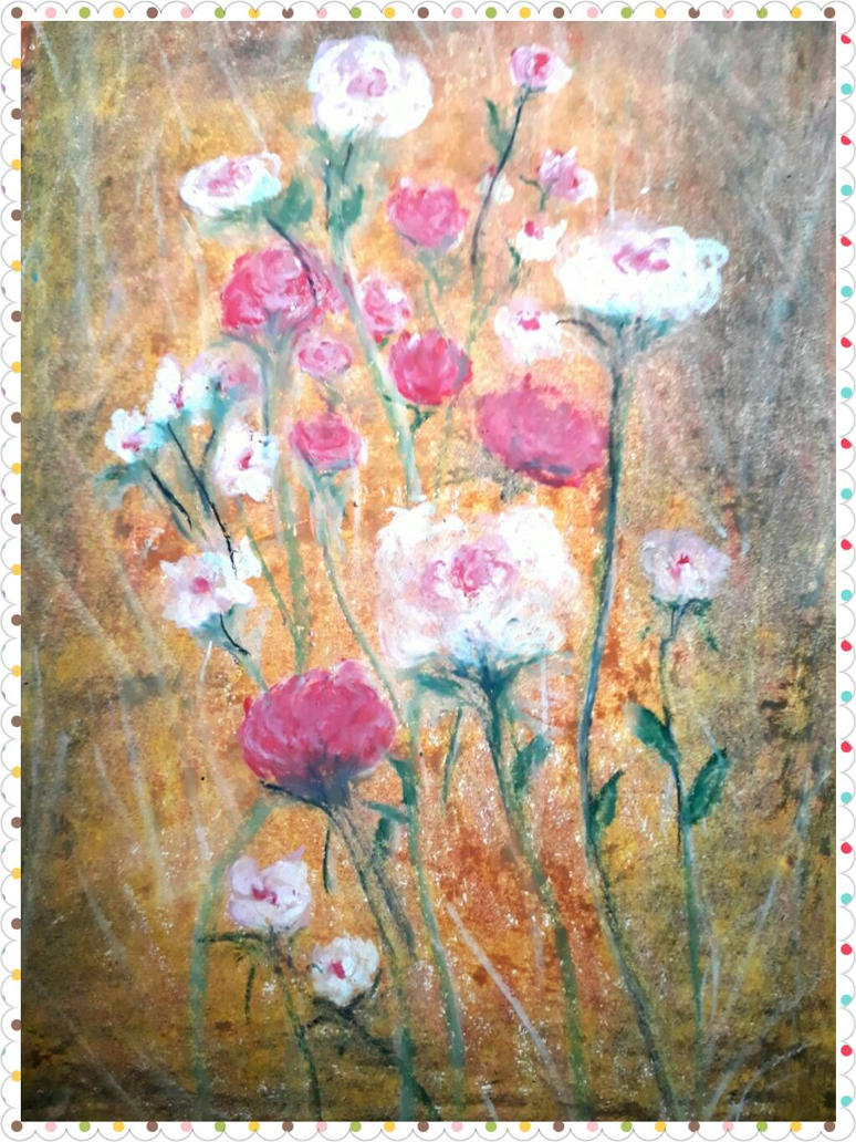 welcome spring,oil pastel on paper 20x30. by irmaGallerys