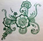 Psychodelic green flower henna (flower series #22)