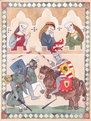 Illumination of Sir Marcus and his mount