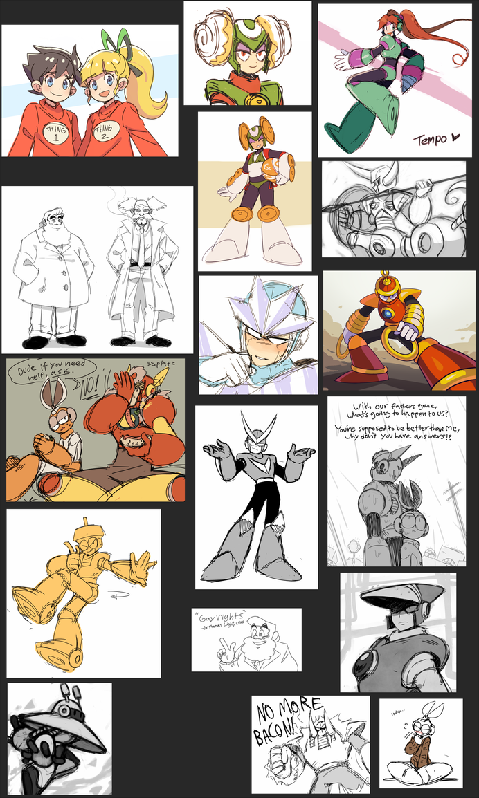 Megaman Sketch Dump 2017 by BoarsBoarsBoars