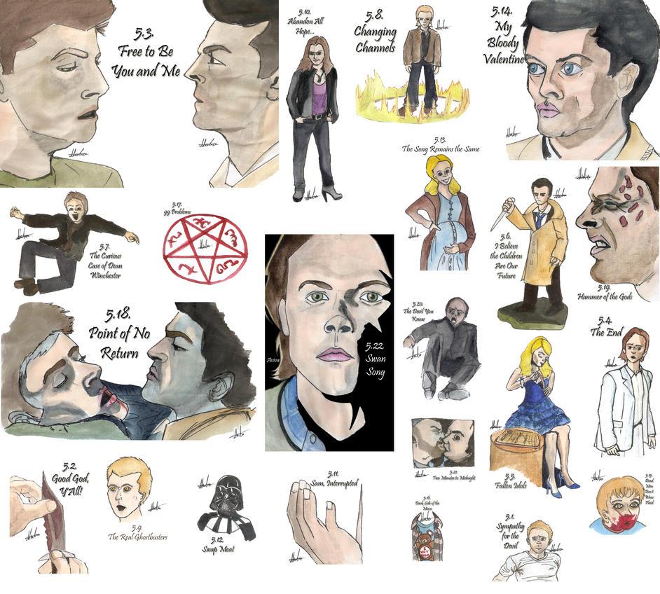 Drawing Per Episode-Supernatural Season 5 by hatoola13