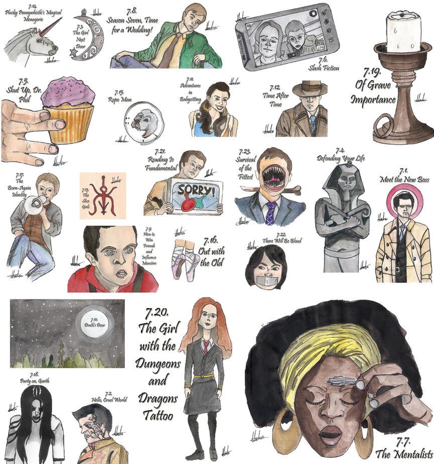 Drawing Per Episode-Supernatural Season 7 by hatoola13