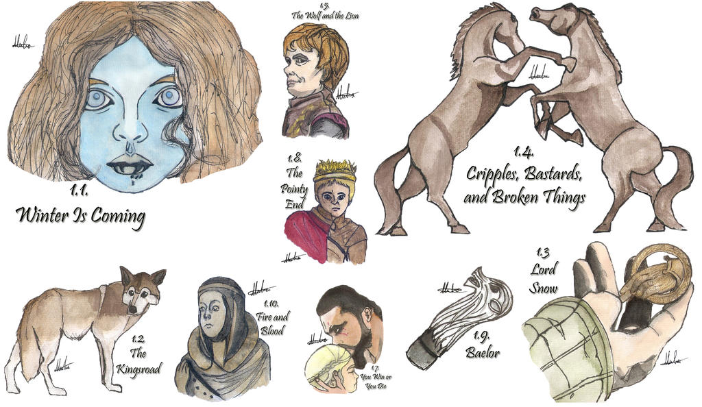 Drawing Per Episode-Game of Thrones Season 1 by hatoola13