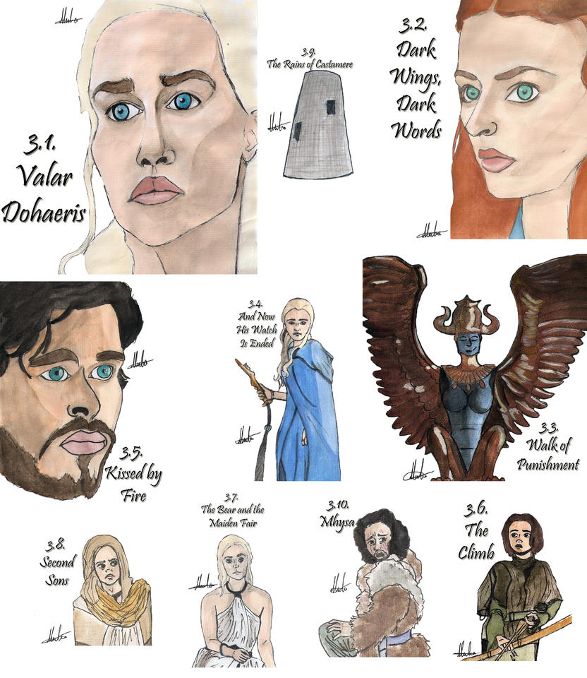 Drawing Per Episode-Game of Thrones Season 3 by hatoola13