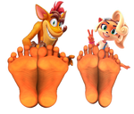 Crash and Coco Show Off Their Feet by ReturnOfXand96