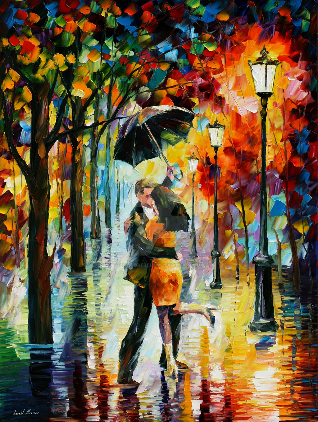 dance under the rain by leonid afremov by leonidafremov on deviantart. Black Bedroom Furniture Sets. Home Design Ideas